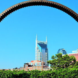 ~Bat Building as seen thru art~ by Michelle Chamblee - Buildings & Architecture Statues & Monuments ( ring, statue, building, nashville, art, tennessee, architecture,  )