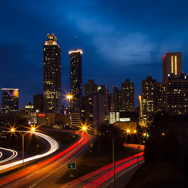 Atlanta Skyline at Twilight by Yolanda Santiago White - City,  Street & Park  Skylines ( skyline, twinkling, twilight, georgia, light trails, atlanta )