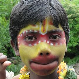 Hanuman by Tammy Jones Perdue - People Body Art/Tattoos ( portray, children, india, festival, gods, hanuman )