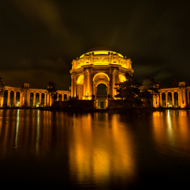 Palace of Fine Arts at night by Kathy Dee - Buildings & Architecture Public & Historical ( building, reflection, arts, francisco, m, architecture, lights, san, arches, night, historical, palace, fine, lighted, evening, golden )