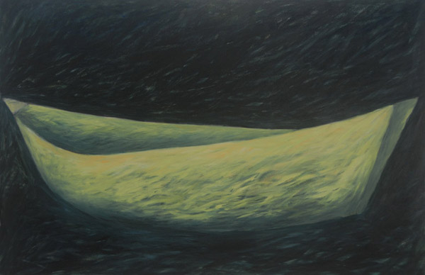 Green Boat <br><br> Acrylic paint, pastel on canvas <br><br> 24 x 36 in