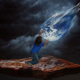 My world crashing on me by Gloria Gilbert - Illustration People ( planet, woman, earth, women, world )