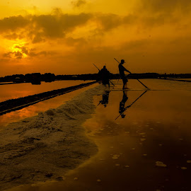Sunrise in a salt farming  by Fuad Arief - Landscapes Sunsets & Sunrises