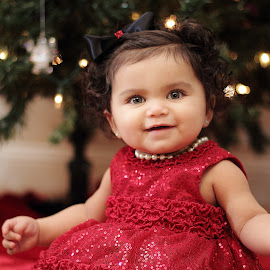 Christmas Baby Ready by Isaiah Vargas - Babies & Children Babies ( cute baby, beautiful eyes, christmas, christmas tree, adorable )