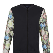 Topman Washed Black Floral Tapestry Sleeve Jersey Bomber Jacket