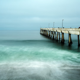 Pacific Pier by Diane Loos - Buildings & Architecture Bridges & Suspended Structures ( pacific ocean, pier, ocean, beach, surf )