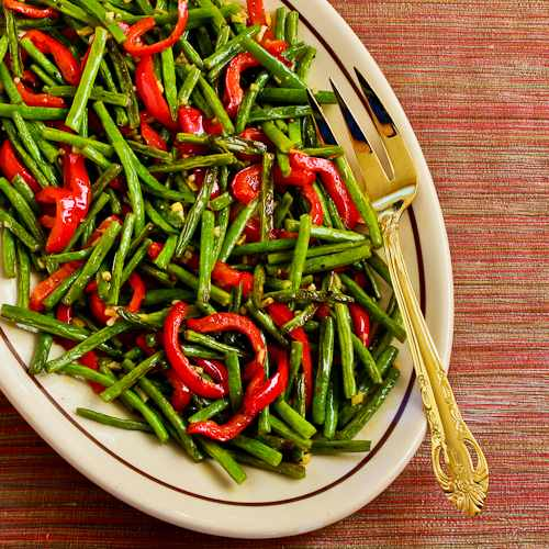 Roasted Green Beans and Red Bell Pepper with Garlic and Ginger Recipe ...