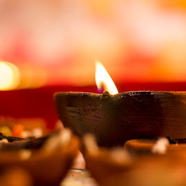 Light of Celebrations by Amit Aggarwal - Artistic Objects Still Life ( canon, artistic, indian, 50mm, festival, bengali, durga puja, bokeh, light, diya,  )
