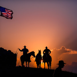 An Old Glory Sunset at the Rodeo by Gary Hanson - Sports & Fitness Rodeo/Bull Riding ( old glory, flag, cowboys, sunset, rodeo )
