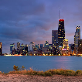 by Hajime Sargent - City,  Street & Park  Skylines ( chicago skyline, windy city, lake michigan, night photography, chicago, north avenue beach )