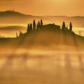 Sunrise over the Belvedere by Alexandr Kolovratnik - Landscapes Sunsets & Sunrises ( orcia, pienza, tuscany, fog, shadow, san quirico de orcia, sunrise, belvedere )