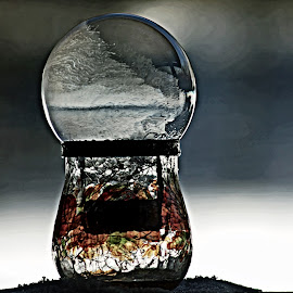 Frost Bubble by Catherine Melvin - Artistic Objects Glass ( pattern, soap bubble, ice, glass jar, frozen )