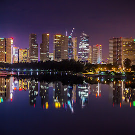 Reflected Skyline by Charles Ong - City,  Street & Park  Skylines ( lights, reflections, singapore, nightscape )