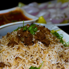 Keema Biryani by Bharath Kesana - Food & Drink Meats & Cheeses ( onions, rice, food, meat, spicy )