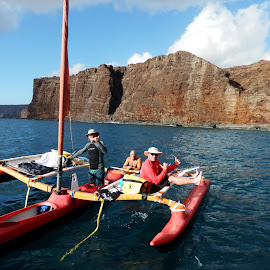 Buddies by Laura Markison - Sports & Fitness Watersports ( canoe, sail, sailing canoe, maui sailing )