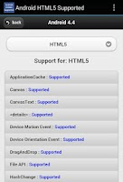 Screenshot of Android HTML5 Supported