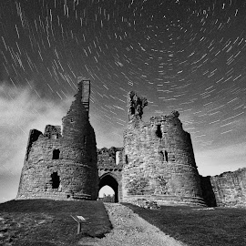 Dunstanburgh Castle Star Trail by Rob McAvoy - Buildings & Architecture Decaying & Abandoned ( star trail castle northumberland mono )