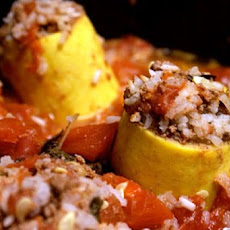 Lebanese Koosa (Stuffed Yellow Squash)