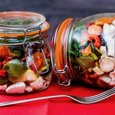 Roast Vegetable Mason Jar Salad