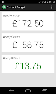 Student Budget Screenshot