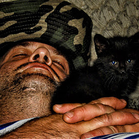 Purr, purr! by Anton Donev - People Portraits of Men ( person, cat, muzzle, furry, cute, cuddle, people, fur, cuddly, kitty, man, pussy, cutie, animal, kitten, male, funny, loveable, mammal, portrait, human, sweet, fluffy, pet, holds, #GARYFONGPETS, #SHOWUSYOURPETS,  )