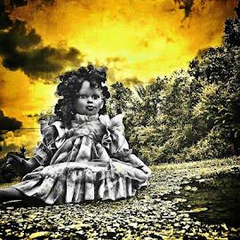 SHE WAITS by Mo Tiv - Abstract Macro ( strange, sky, hdr, dolls, beautiful, art, dark )