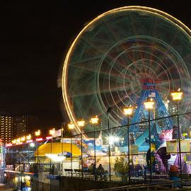 Wonder Wheel by Robert Kiss - City,  Street & Park  Amusement Parks ( night photography, amusement park, night, new york, coney island )