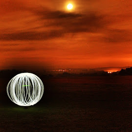 Light Painting at dusk by Suzi Lloyd - Abstract Light Painting ( neon, sunset, painting, light )