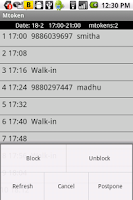 Screenshot of SMS based appointments - Trial
