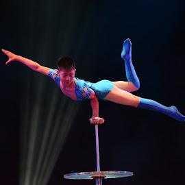 Incredible Acrobat by Bharani Kumar Kosuri - Sports & Fitness Fitness ( fitness, blue, acrobatics, art, peace, sports, meditation, people, gymnastics, acrobatic )