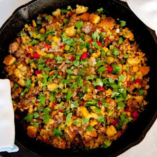 Three-Pepper Sausage Cornbread Dressing