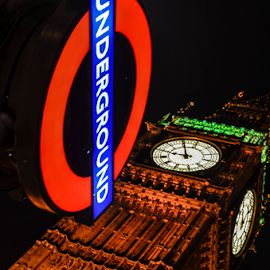 Underground Ben by David Kennedy - Travel Locations Landmarks ( landmark, night photography, london, big ben, underground )