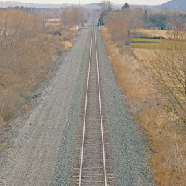 by Charles Baldwin - Landscapes Prairies, Meadows & Fields ( vertical panorama, vanishing point, big flats new york, railroad, tracks )