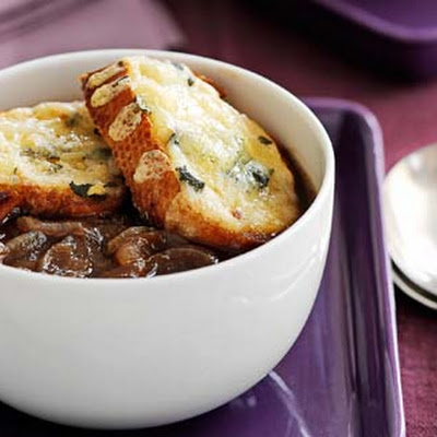 Caramelised Onion Soup With Sage And Cheese Toasts