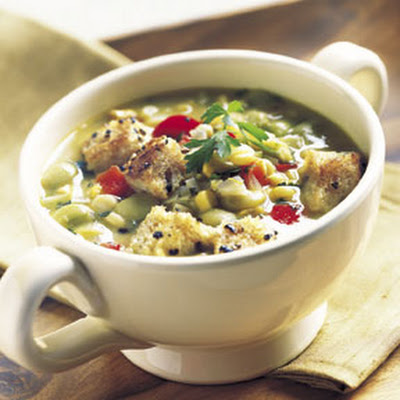 Succotash Soup with Black Pepper Croutons