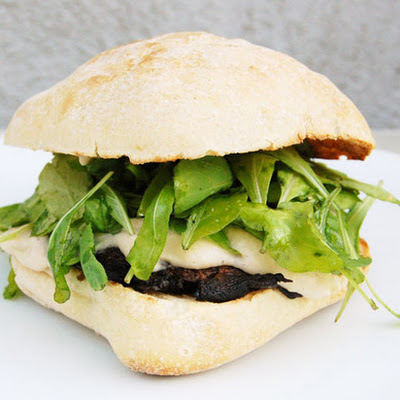 Grilled Portobello Mushroom Sandwiches with Arugula and White Bean Spread