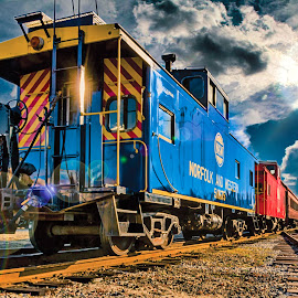 Into the Sunset by RomanDA Photography - Transportation Trains ( tracks, trains, sun )