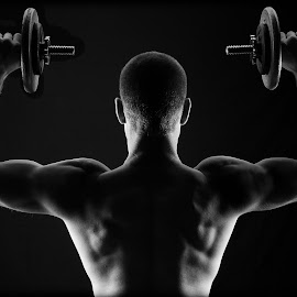 Dumbbell by Brent Lister - Sports & Fitness Fitness ( black and white, weights, fitness, self, dumbbell,  )