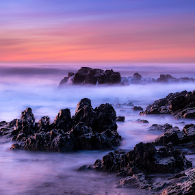 Cold sunset by Ricardo  Guimaraes - Landscapes Waterscapes ( smooth, waterscape, ocean, beach, quiet, colorfull, landscape, winter, nature, cold, sunset, long exposure, portugal,  )