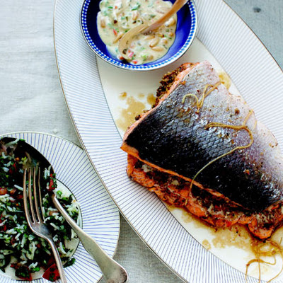 Walnut and Herb-Stuffed Salmon with Spicy Tahini Sauce