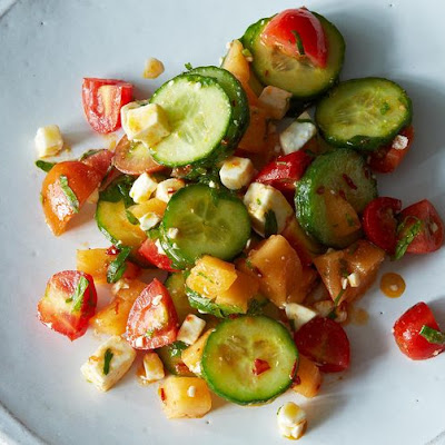 Summer Melon Salad with Harissa, Feta, and Mint