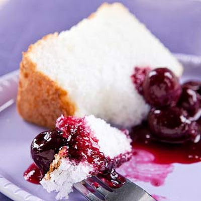 Angel Cake with Cherry Sauce