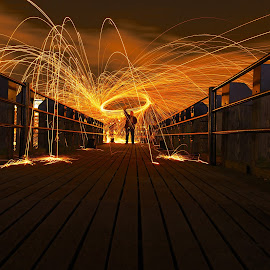 At the End by Joel Estby - Abstract Light Painting ( england, light painting, london, pier, night,  )