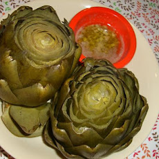 Steamed Artichokes with Garlic Lemon Butter