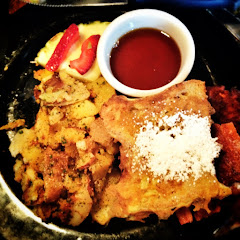 GF Fried chicken + French toast with potatoes. So very good.