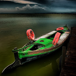 THE GREEN BOAT by Albert Lipsey - Transportation Boats ( selective color, pwc )