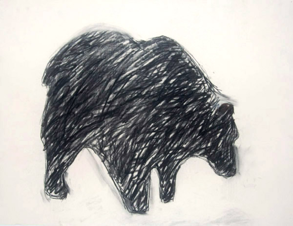 Bear # 2 <br> Pastel on paper <br> 18 x 23.5 in