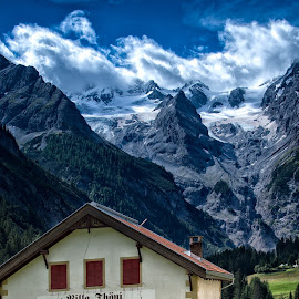 Stelvio Pass ahead by Colin Dixon - Landscapes Mountains & Hills ( clouds, mountains, glazier, dramatic, switzerland, italy, alps )