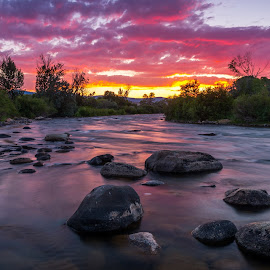 To Where the River Flows by Mike Lindberg - Landscapes Sunsets & Sunrises ( desert, sierra nevada, reno nevada, eastern sierra, truckee, flow, truckee river, reno, sunset, nevada, long exposure, high desert, sierra, river, great basin )