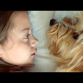 in the morning by Roxanne Dede - Babies & Children Children Candids ( girl child, bed, morning, dog, together )